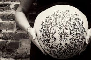 henna belly week 40 + 2 43 y/o mama.